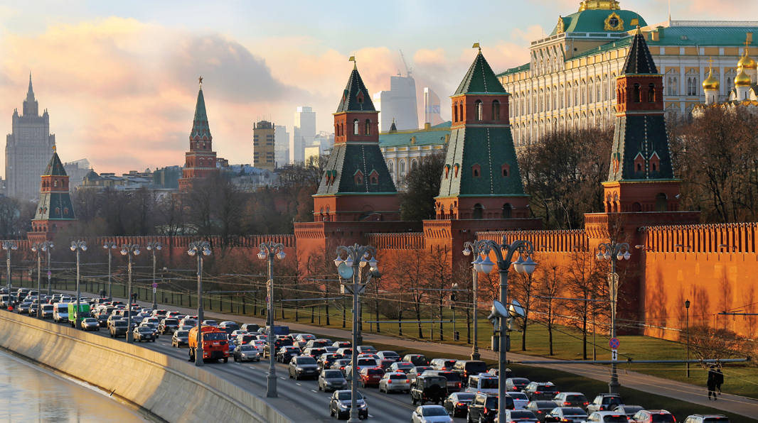 BUMPER TO BUMPER: A traffic jam on the Kremlin embankment in Moscow. Due to the pandemic, the Russia motor insurance segment experienced lower claims, according to a Best's Market Segment Report.