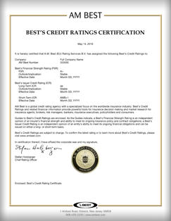 Best's Credit Ratings Certification